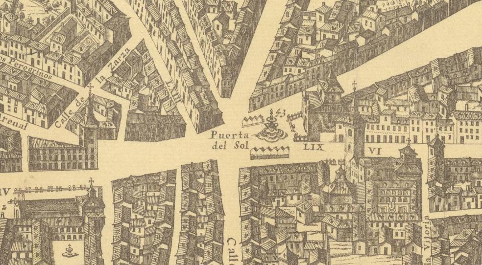 La puerta del sol su origen y sus calles un gato por madrid for Puerta del sol madrid mapa