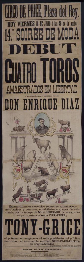 debut-de-cuatro-toros-amaestrados-en-libertad-circo-price-dibujos-grabados-y-fotografias-1884-1884