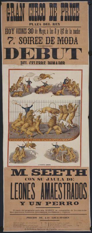 debut-del-celebre-domador-m-seeth-con-su-jaula-de-leones-amaestrados-y-un-perro-circo-price-dibujos-grabados-y-fotografias-1884