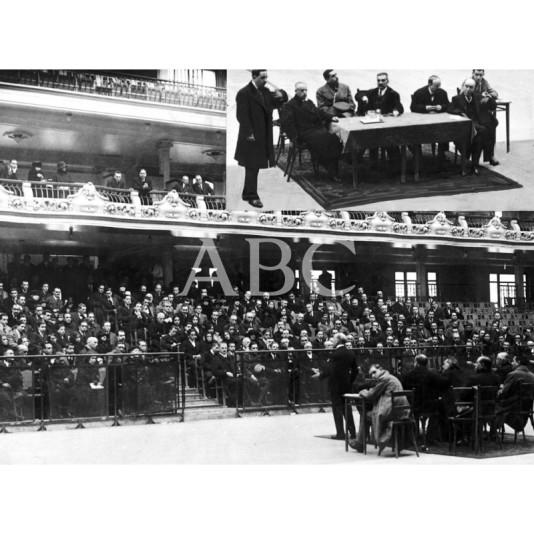 1924, MADRID. EN EL FRONTON JAI-ALAI MITIN SANITARIO CELEBRADO EL DOMINGO ULTIMO EN EL ANGULO SUPERIOR IZQUIERDO, LA PRESIDENCIA DEL ACTO.