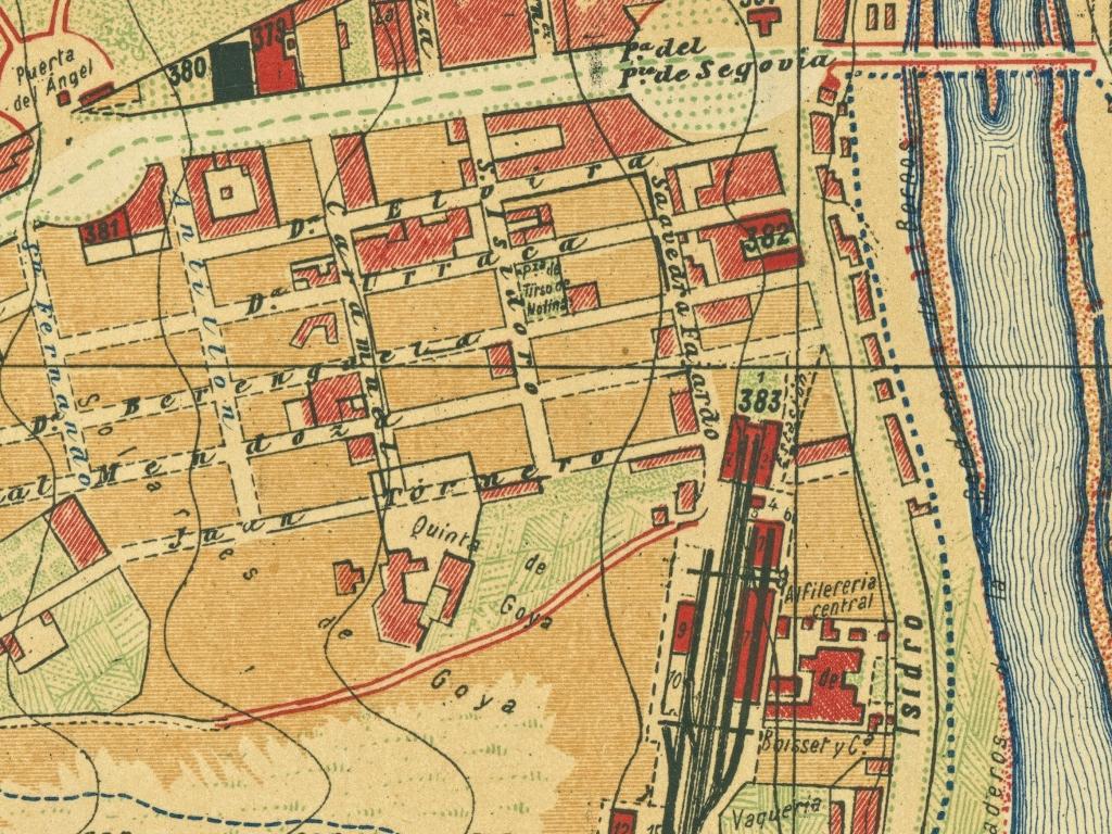 Plano de Madrid 1900-1901 de Facundo Cañada donde se observa la Quinta de Goya