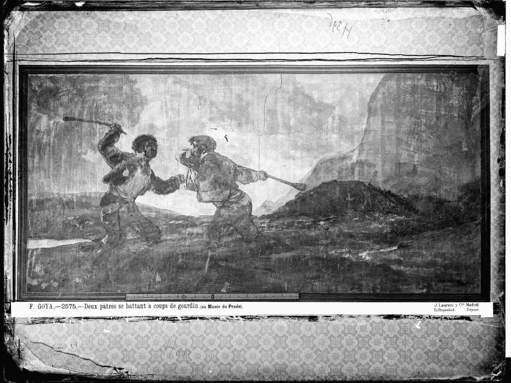 Fotografía de Jean Laurent, Pintura mural Duelo de garrotazos cuando estaba en la Quinta, 1874